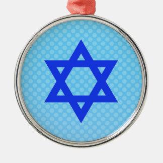 Star of David on blue polka dots. Ornaments
