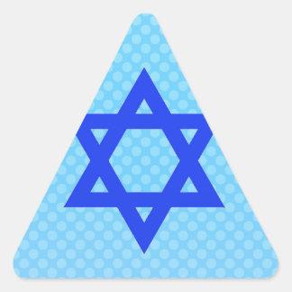 Star of David on blue polka dots. Triangle Sticker