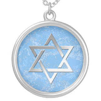 Star of David on blue stone background Silver Plated Necklace