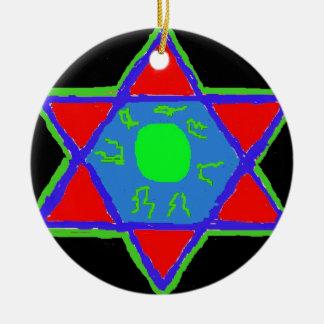 Star of David Round Ceramic Ornament