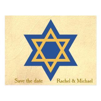 Star of David Save the Date Postcard