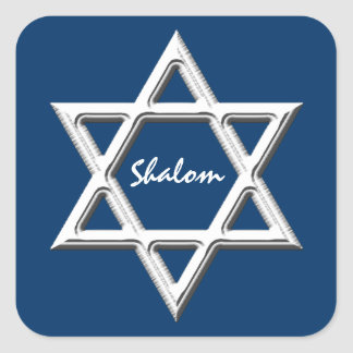 Star of David-Shalom/White on Blue Background Square Sticker