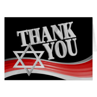 Star of David Silver and Red Thank You Card
