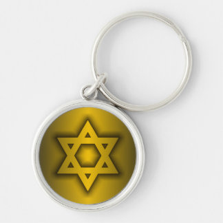Star of David Silver-Colored Round Keychain