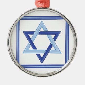 Star Of David Silver-Colored Round Ornament