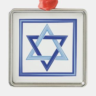 Star Of David Silver-Colored Square Ornament