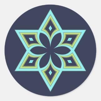 Star of David Spring Flower Classic Round Sticker