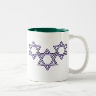 Star Of David Trio Two-Tone Coffee Mug