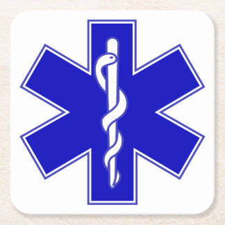 Star of Life (EMT) Square Paper Coaster