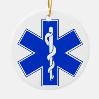Star of Life / EMT Symbol Round Ceramic Ornament