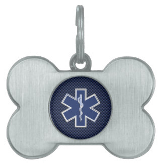 Star of Life Paramedic Carbon Fiber Style Pet Tag