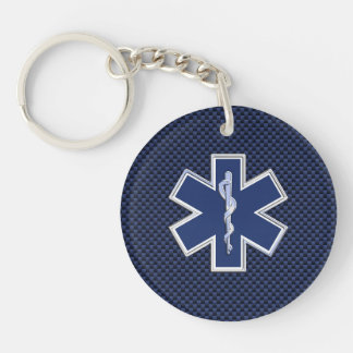Star of Life Paramedic on Navy Blue Carbon Fiber Keychain