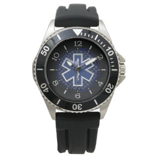 Star of Life Paramedic Watch Navy Carbon Style