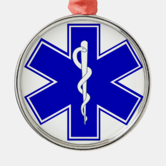 Star of Life Silver-Colored Round Ornament