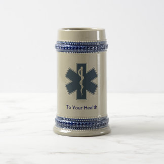 """Star of Life with """"to your health"""" Beer Stein"""