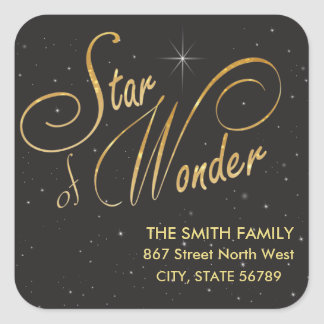 Star of Wonder Black Gothic Gold Glitter Text Square Sticker