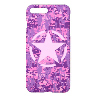 Star on Girly Hot Pink Camo iPhone 7 Plus Case