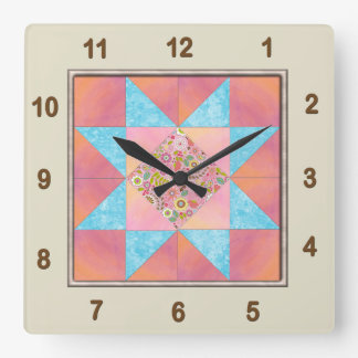 Star Patch Sunset & Water Quilt Block Square Wall Clock