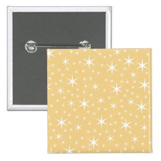 Star Pattern in White and Non-metallic Gold Color. 2 Inch Square Button