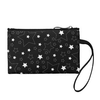 Star Pattern White on Black Coin Purses