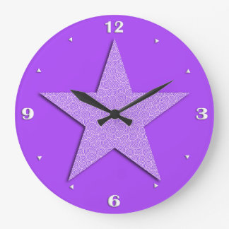 Star patterned in Chinese spiral - lavender Large Clock