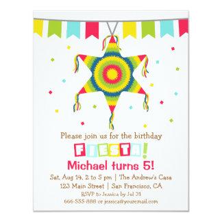 "Star Pinata Mexican Fiesta Kids Birthday Party 4.25"" X 5.5"" Invitation Card"