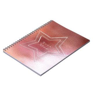 Star Pink Rose Gold Powder Metallic Blush Notebooks