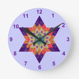 Star Quilt in Purple and Orange Round Clock