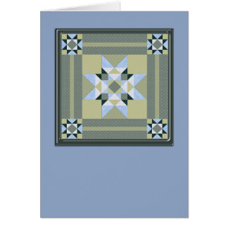 Star Quilt Square in Blue & Greens Card
