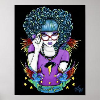 Star Rainbow Swallow Tattoo Angel Poster