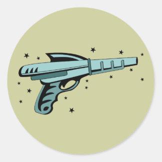 Star Ray Gun Laser Pistol Round Sticker