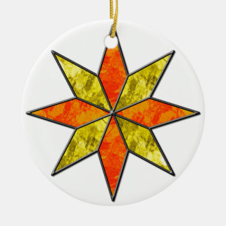 Star Round Ceramic Ornament