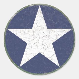 Star Roundel Rustic Classic Round Sticker