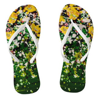 Star Seed Green Splatter Paint Flip Flops