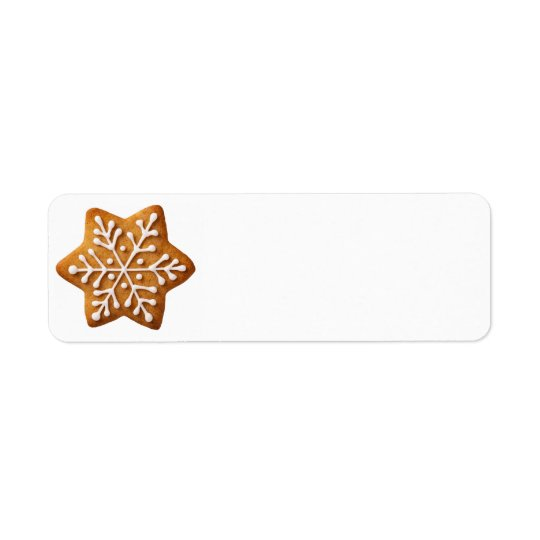 Star Shape Christmas Gingerbread Return Address Label