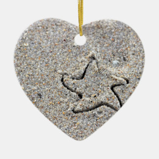 Star Shape Created in the Sand Ceramic Heart Ornament