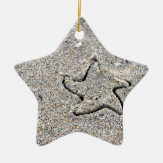 Star Shape Created in the Sand Ceramic Star Ornament