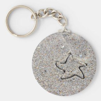 Star Shape Created in the Sand Keychain