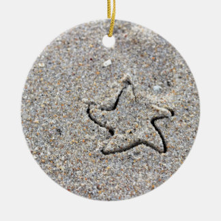 Star Shape Created in the Sand Round Ceramic Ornament
