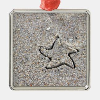 Star Shape Created in the Sand Silver-Colored Square Ornament