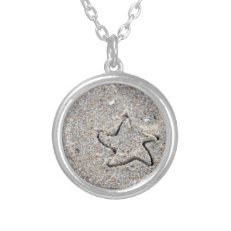 Star Shape Created in the Sand Silver Plated Necklace