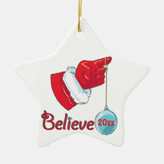 Star Shaped Double Sided Believe Ceramic Star Ornament