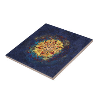 Star Shine Gold and Blue Ceramic Art Tile