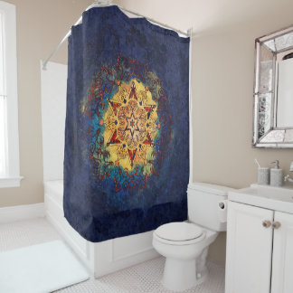 Star Shine Gold and Blue Shower Curtain