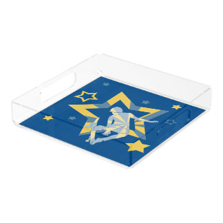 Star Skater in Lapis Blue & Primrose Yellow Acrylic Tray