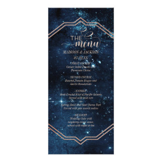 Star Sky Celestial Galaxy Watercolor Wedding Menu Personalized Rack Card