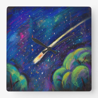 Star Space Wall Clock with flying comet