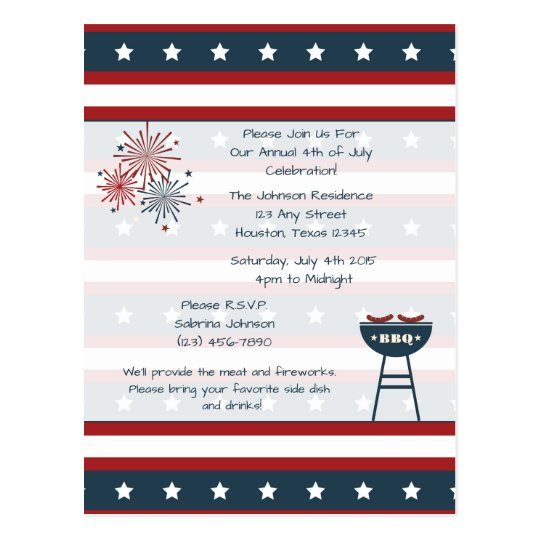 Star Spangled 4th of July Party Invitation Postcard