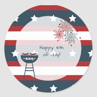 Star Spangled 4th of July Personalized Classic Round Sticker