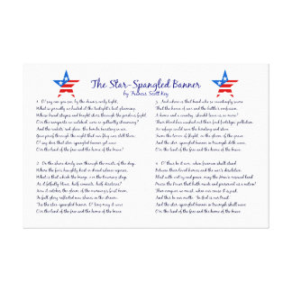 Star Spangled Banner Four Verses and Stars Canvas Print
